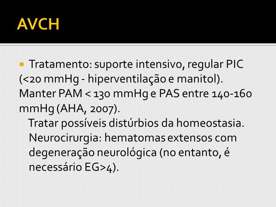 AVCH Tratamento: suporte intensivo, regular PIC