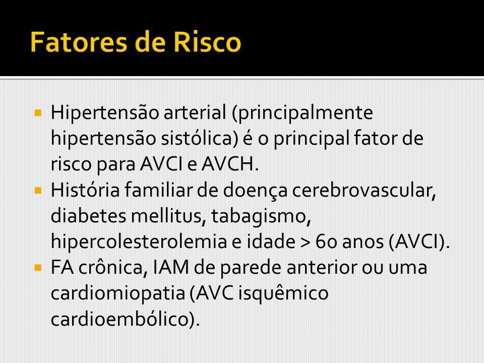 Fatores de Risco Hipertensão arterial (principalmente hipertensão sistólica) é o principal fator de risco para AVCI e AVCH.