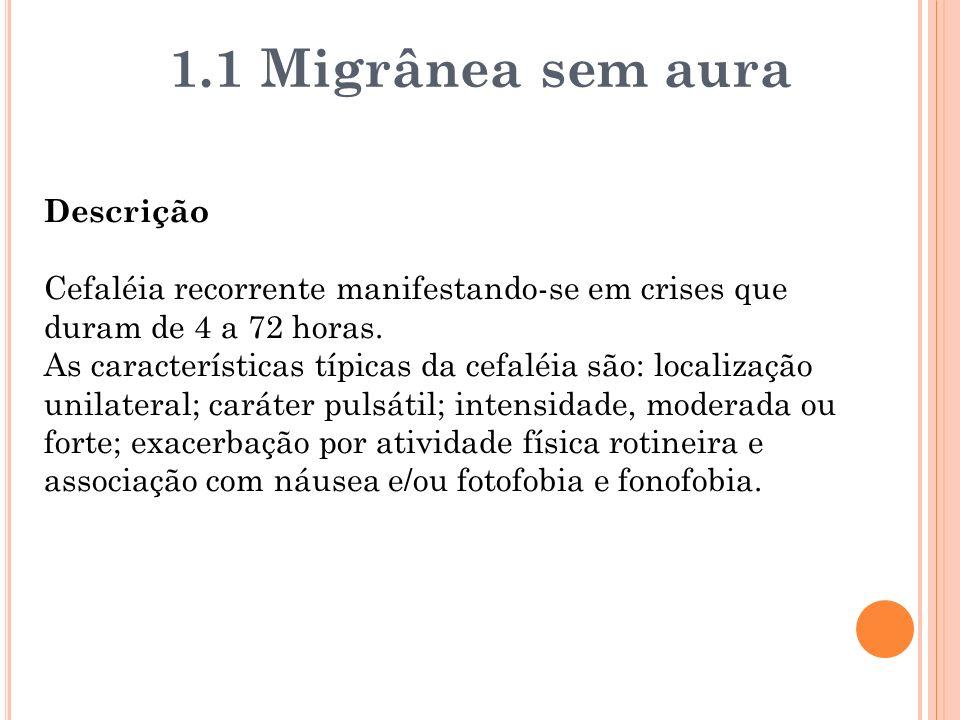 1.1 Migrânea sem aura Descrição