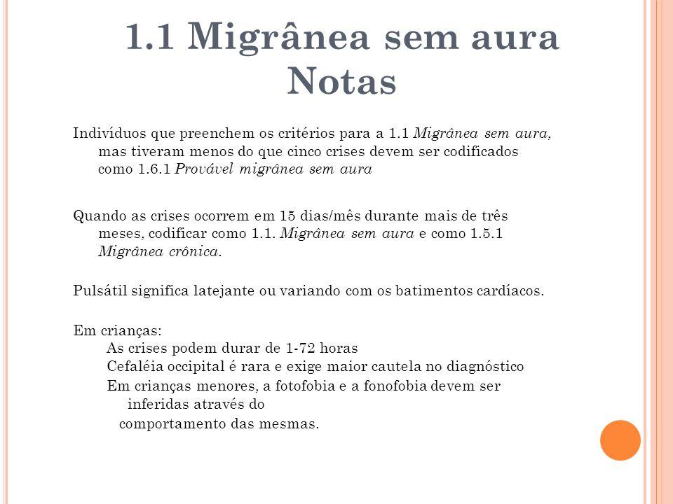 1.1 Migrânea sem aura Notas
