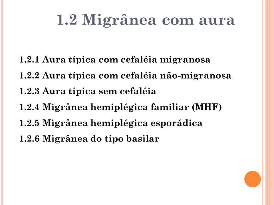 1.2 Migrânea com aura 1.2.1 Aura típica com cefaléia migranosa