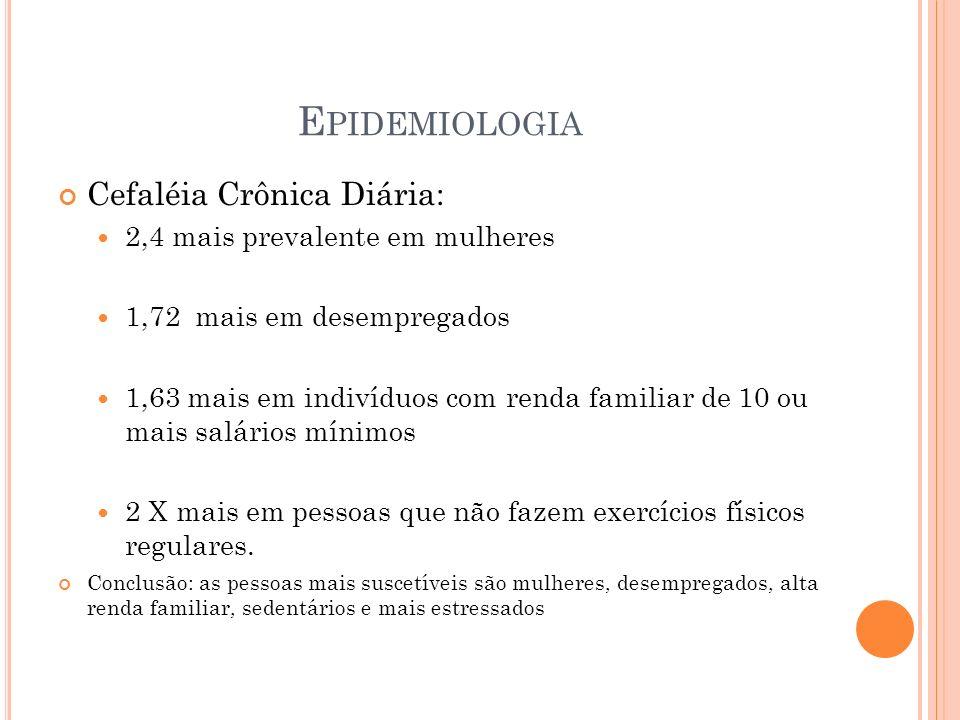 Epidemiologia Cefaléia Crônica Diária: 2,4 mais prevalente em mulheres