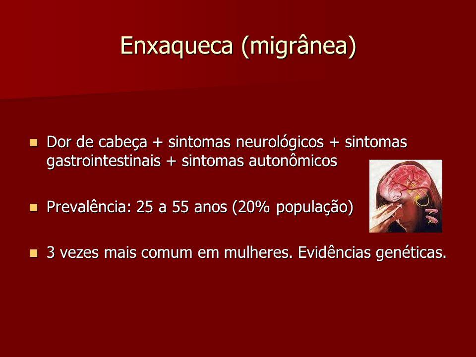 Enxaqueca (migrânea) Dor de cabeça + sintomas neurológicos + sintomas gastrointestinais + sintomas autonômicos.