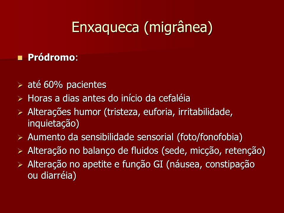 Enxaqueca (migrânea) Pródromo: até 60% pacientes