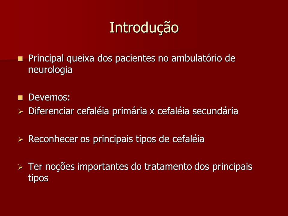 Introdução Principal queixa dos pacientes no ambulatório de neurologia