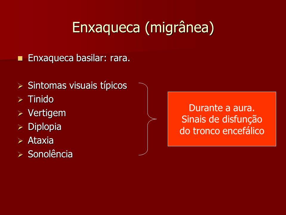 Enxaqueca (migrânea) Enxaqueca basilar: rara. Sintomas visuais típicos