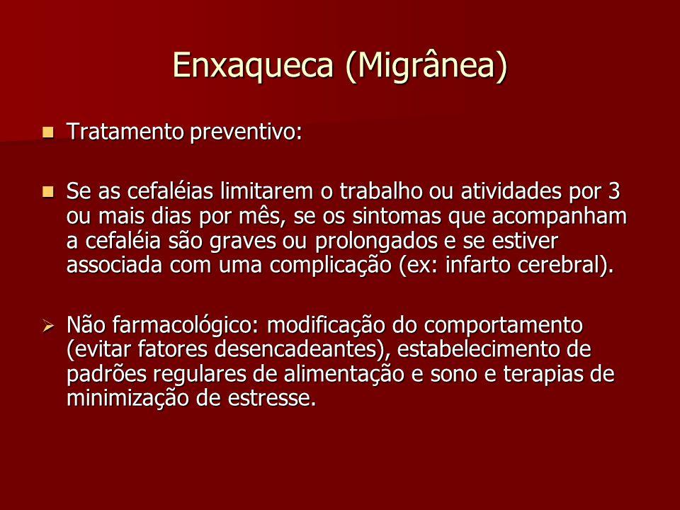Enxaqueca (Migrânea) Tratamento preventivo: