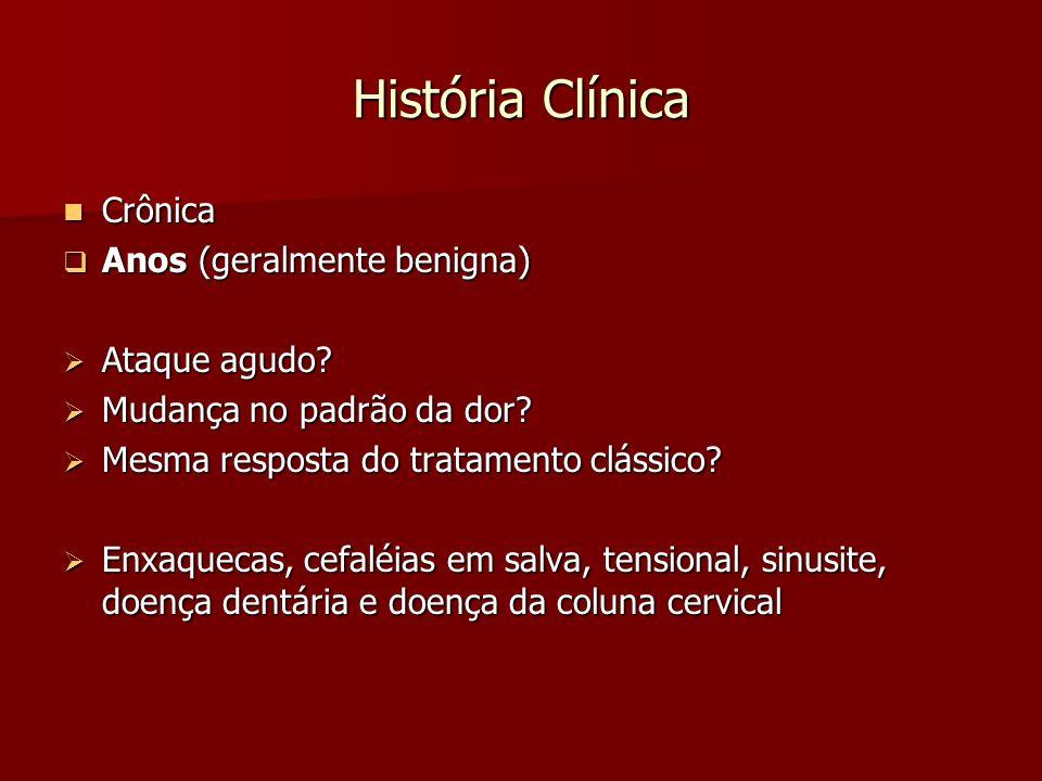 História Clínica Crônica Anos (geralmente benigna) Ataque agudo