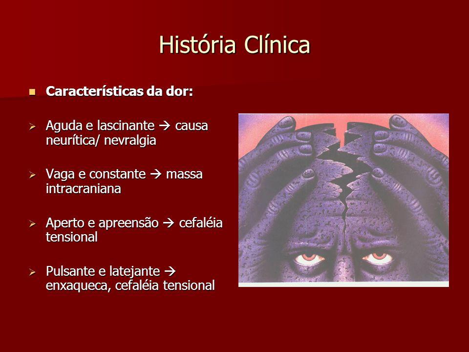 História Clínica Características da dor: