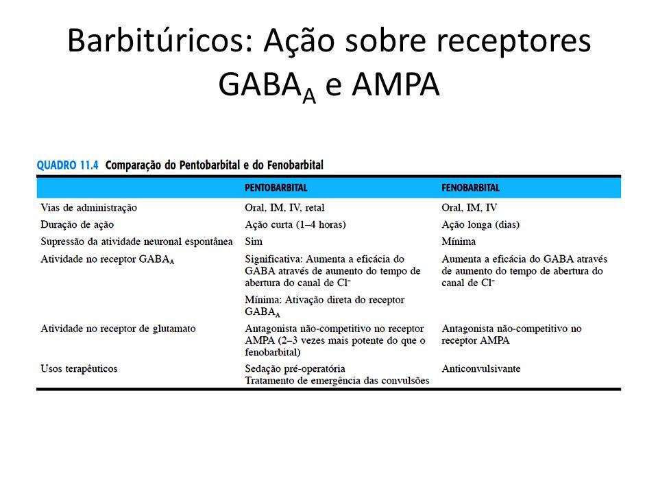 Barbitúricos: Ação sobre receptores GABAA e AMPA