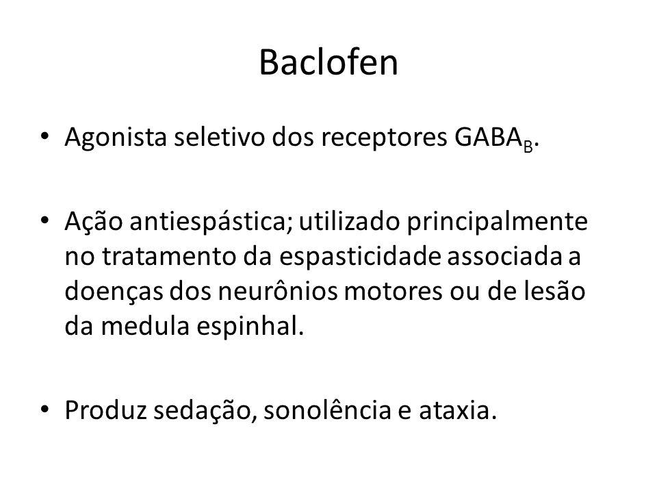 Baclofen Agonista seletivo dos receptores GABAB.