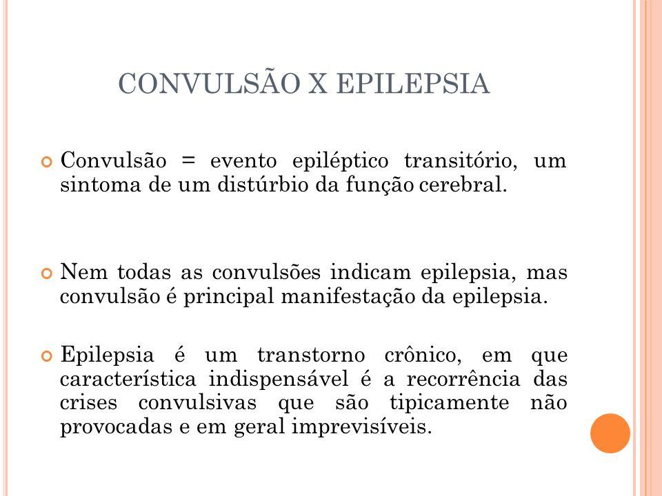 CONVULSÃO X EPILEPSIA Convulsão = evento epiléptico transitório, um sintoma de um distúrbio da função cerebral.