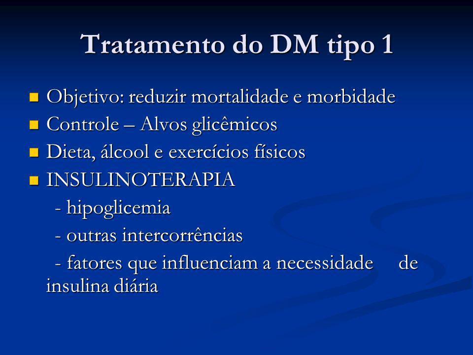 Tratamento do DM tipo 1 Objetivo: reduzir mortalidade e morbidade
