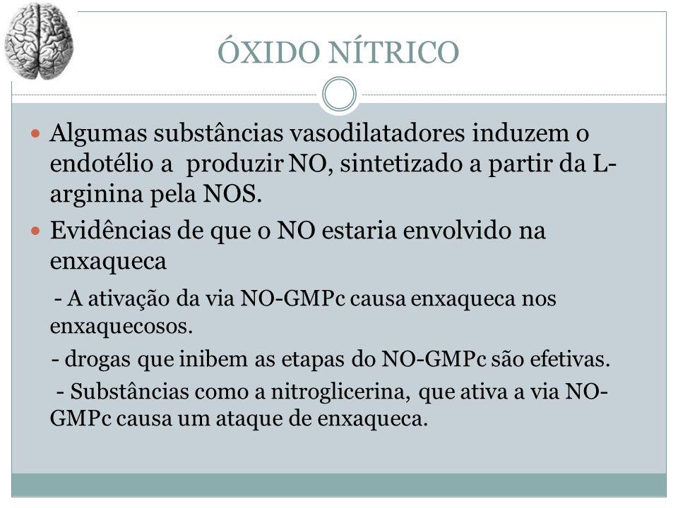ÓXIDO NÍTRICOAlgumas substâncias vasodilatadores induzem o endotélio a produzir NO, sintetizado a partir da L-arginina pela NOS.