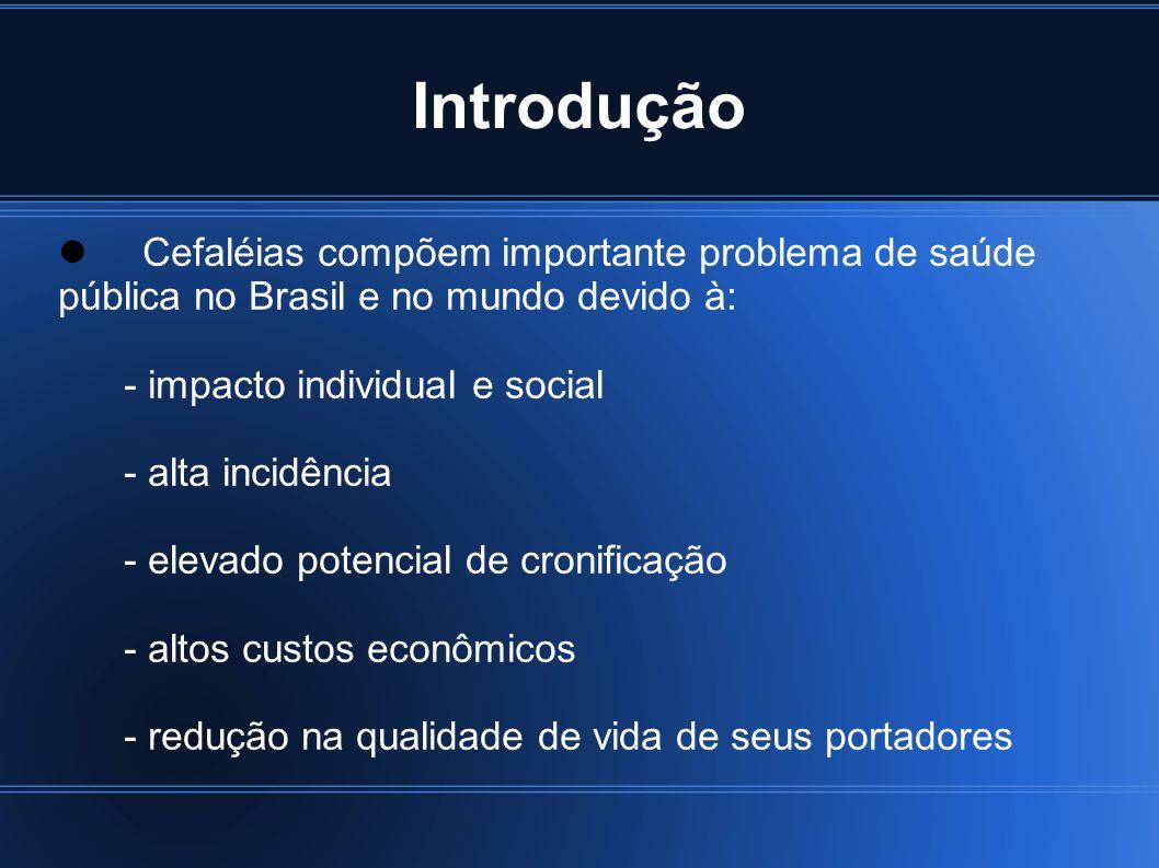 3Introdução. Cefaléias compõem importante problema de saúde pública no Brasil e no mundo devido à: - impacto individual e social.