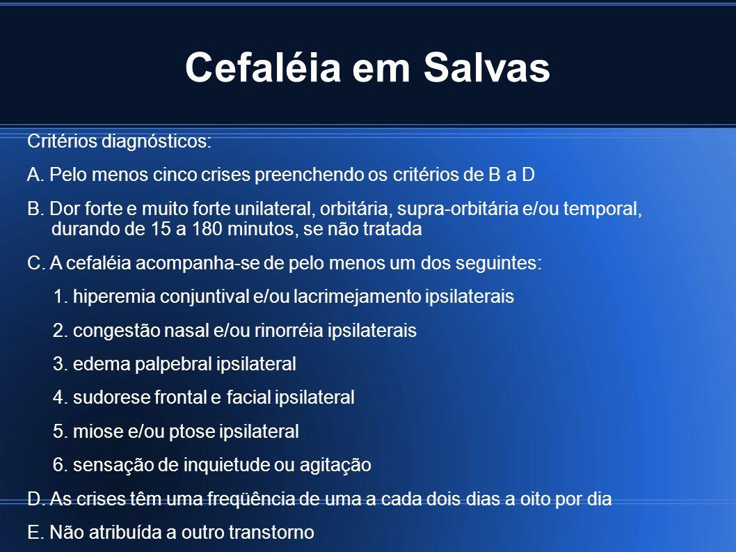 Cefaléia em Salvas Critérios diagnósticos: