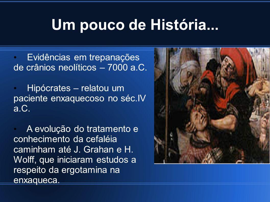4 Um pouco de História... Evidências em trepanações de crânios neolíticos – 7000 a.C. Hipócrates – relatou um paciente enxaquecoso no séc.IV a.C.