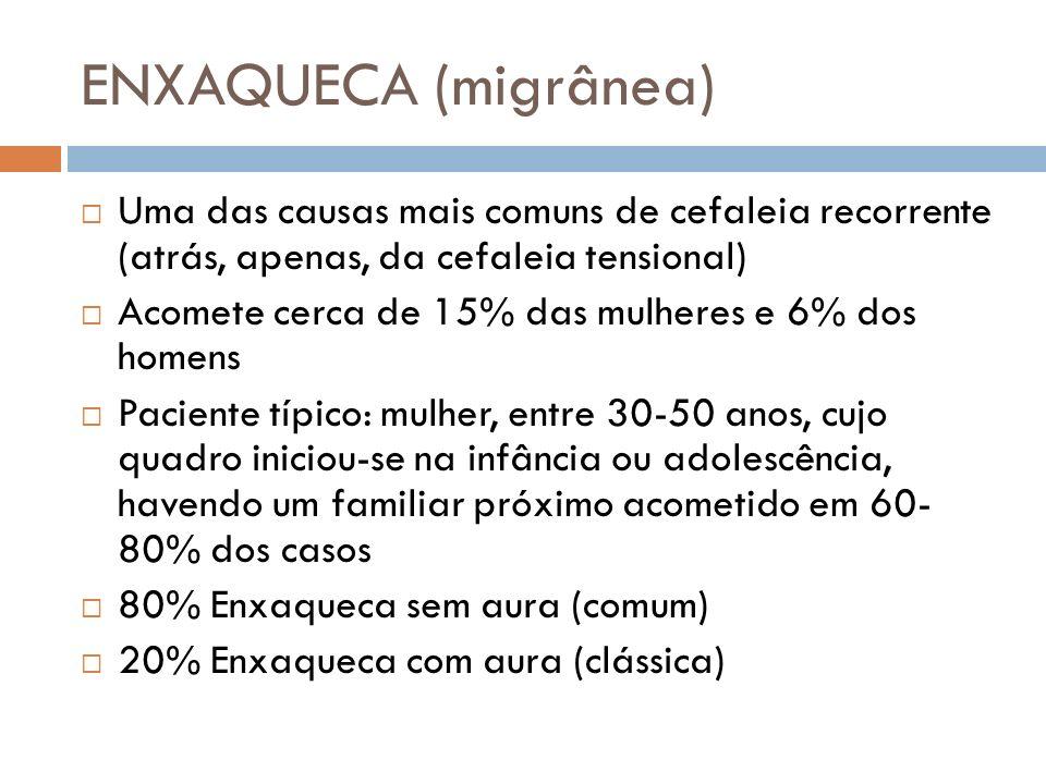 ENXAQUECA (migrânea) Uma das causas mais comuns de cefaleia recorrente (atrás, apenas, da cefaleia tensional)