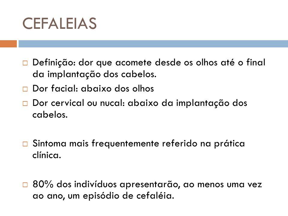 CEFALEIAS Definição: dor que acomete desde os olhos até o final da implantação dos cabelos. Dor facial: abaixo dos olhos.
