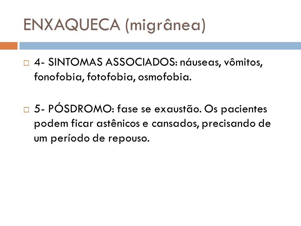 ENXAQUECA (migrânea) 4- SINTOMAS ASSOCIADOS: náuseas, vômitos, fonofobia, fotofobia, osmofobia.