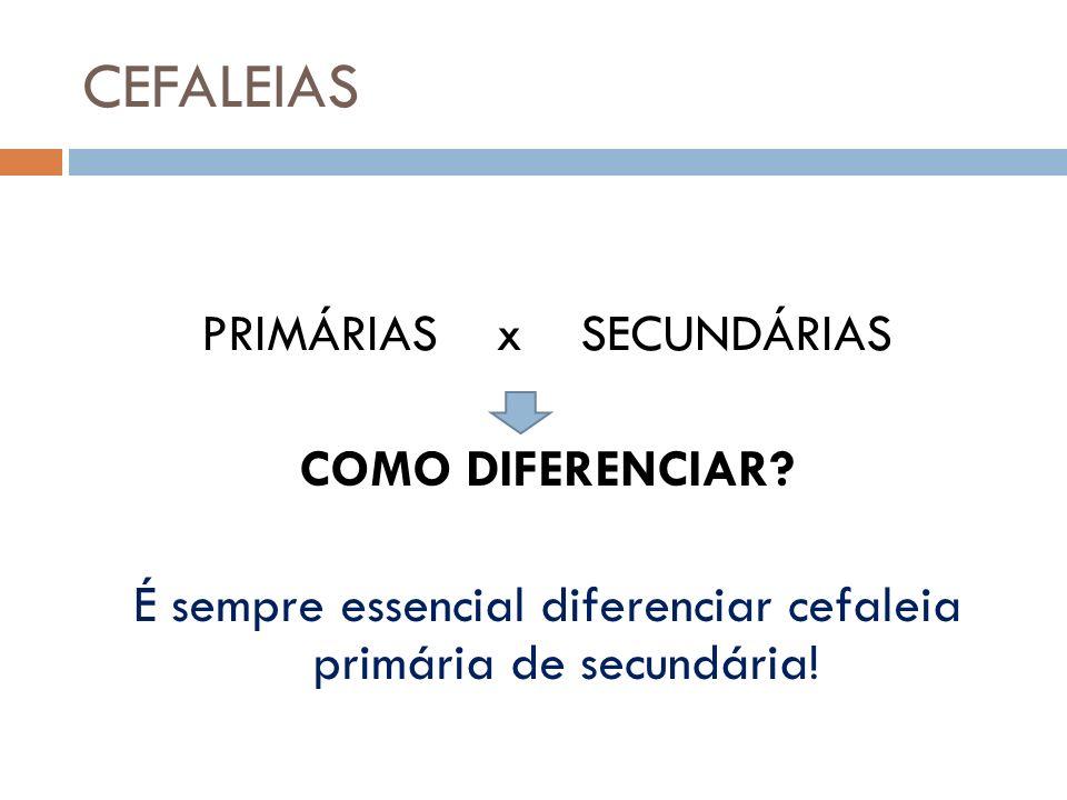 CEFALEIAS PRIMÁRIAS x SECUNDÁRIAS COMO DIFERENCIAR.