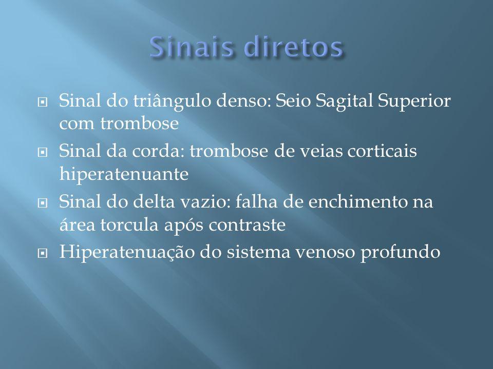 Sinais diretosSinal do triângulo denso: Seio Sagital Superior com trombose. Sinal da corda: trombose de veias corticais hiperatenuante.