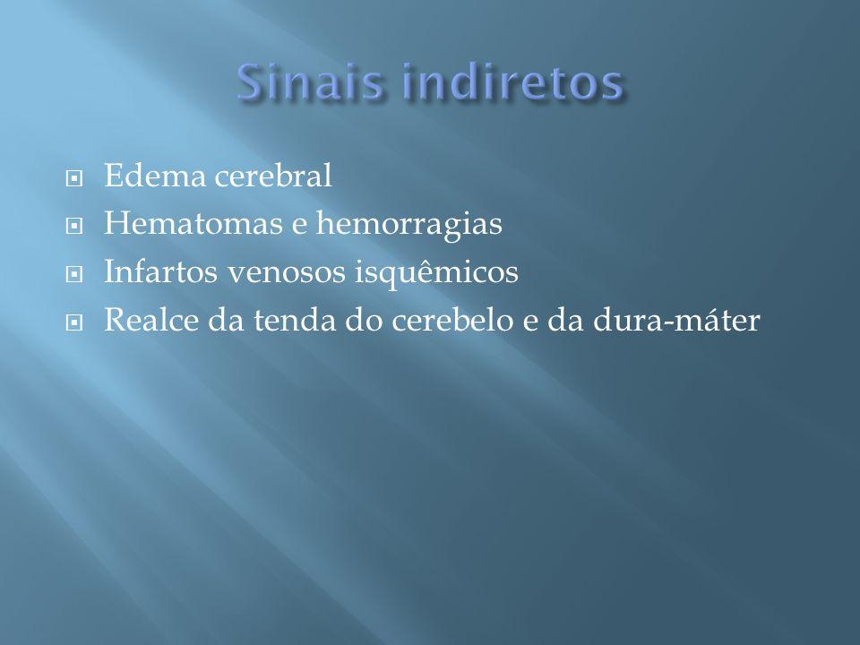 Sinais indiretos Edema cerebral Hematomas e hemorragias