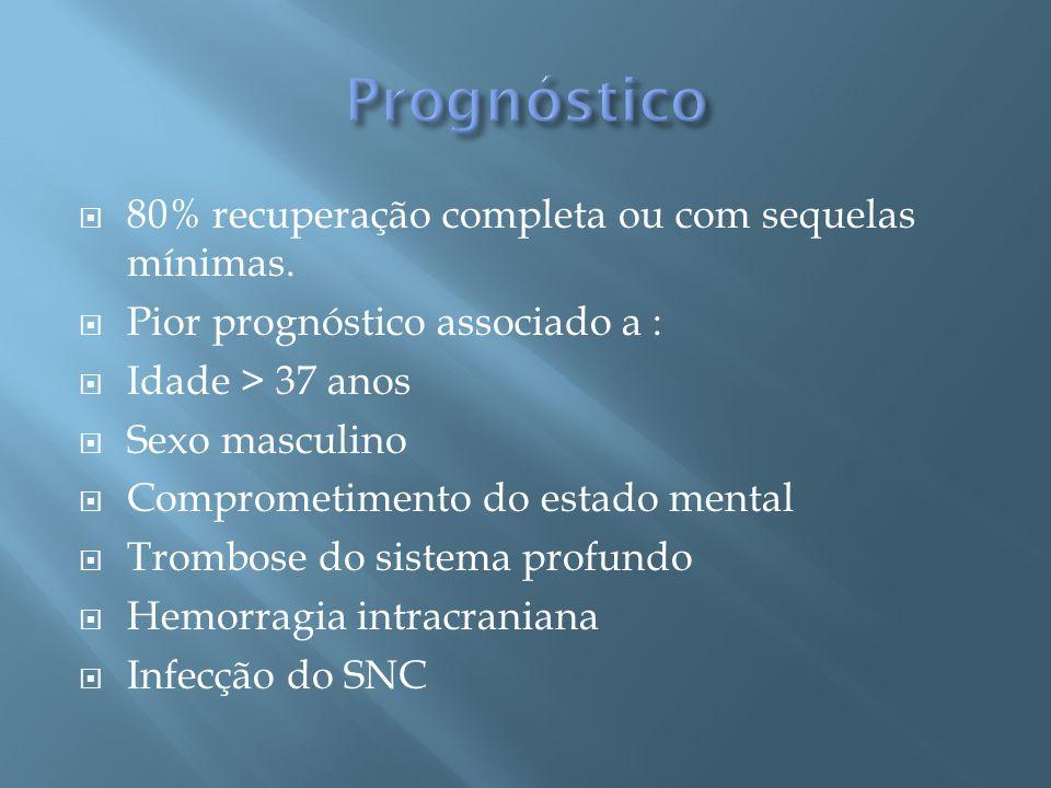 Prognóstico 80% recuperação completa ou com sequelas mínimas.
