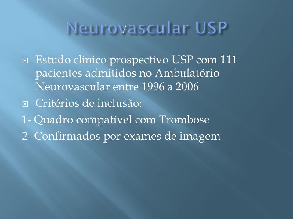 Neurovascular USP Estudo clinico prospectivo USP com 111 pacientes admitidos no Ambulatório Neurovascular entre 1996 a 2006.