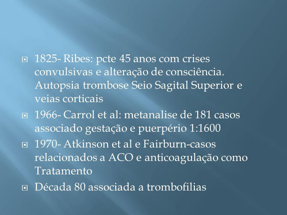 1825- Ribes: pcte 45 anos com crises convulsivas e alteração de consciência. Autopsia trombose Seio Sagital Superior e veias corticais