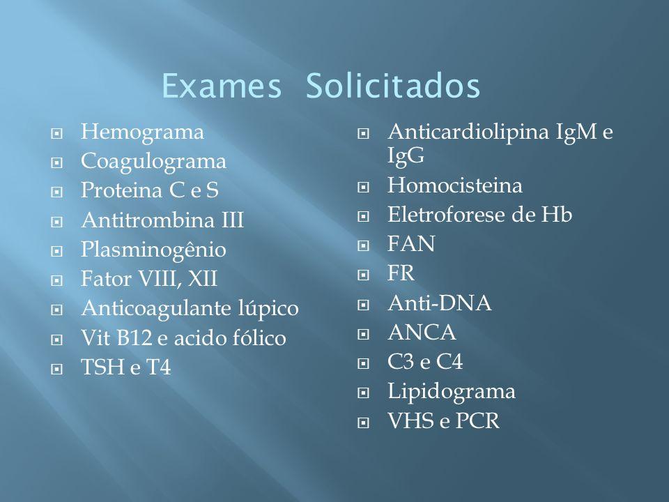 Exames Solicitados Hemograma Coagulograma Proteina C e S