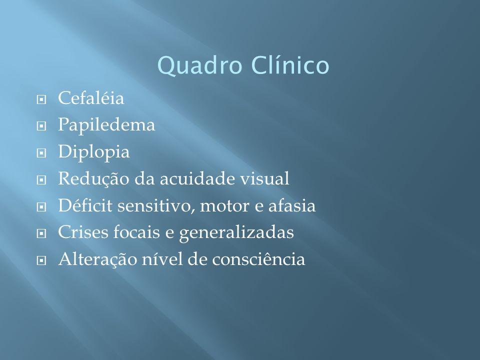 Quadro Clínico Cefaléia Papiledema Diplopia Redução da acuidade visual