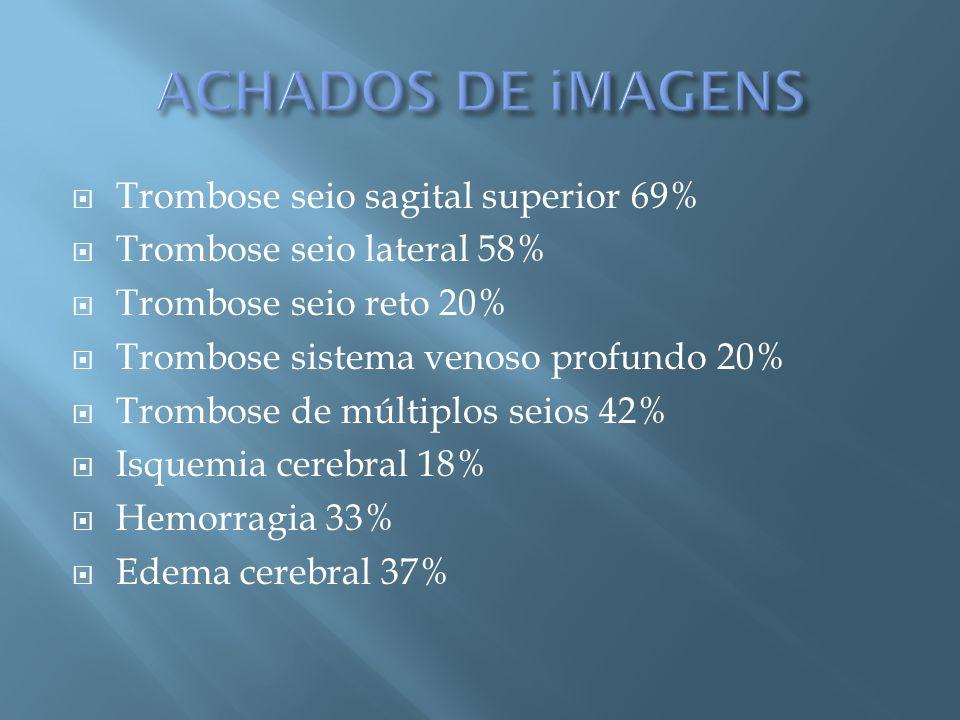 ACHADOS DE iMAGENS Trombose seio sagital superior 69%