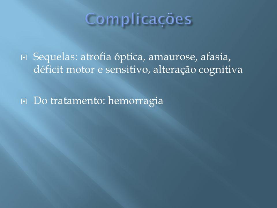 Complicações Sequelas: atrofia óptica, amaurose, afasia, déficit motor e sensitivo, alteração cognitiva.