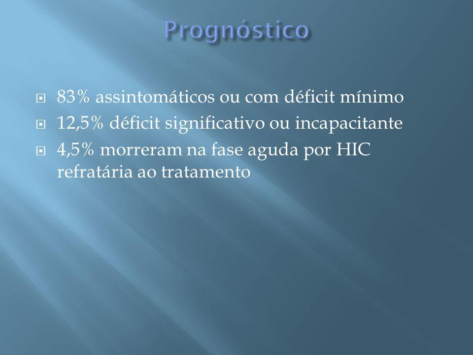 Prognóstico 83% assintomáticos ou com déficit mínimo