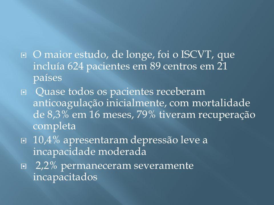 O maior estudo, de longe, foi o ISCVT, que incluía 624 pacientes em 89 centros em 21 países