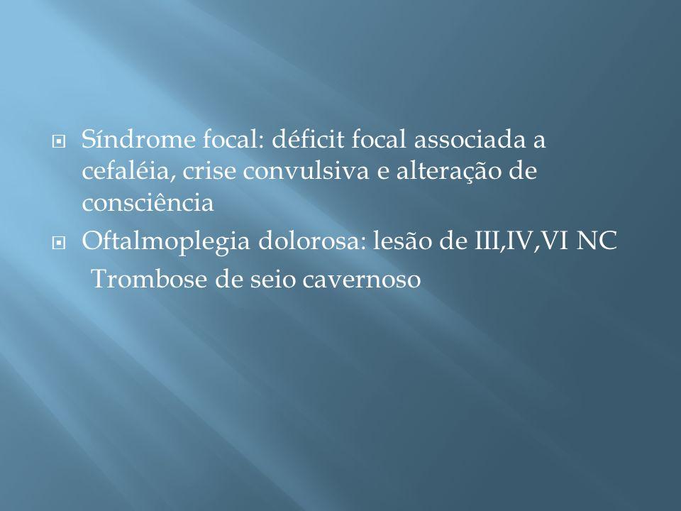 Síndrome focal: déficit focal associada a cefaléia, crise convulsiva e alteração de consciência