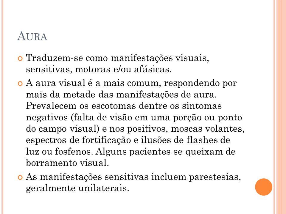 Aura Traduzem-se como manifestações visuais, sensitivas, motoras e/ou afásicas.