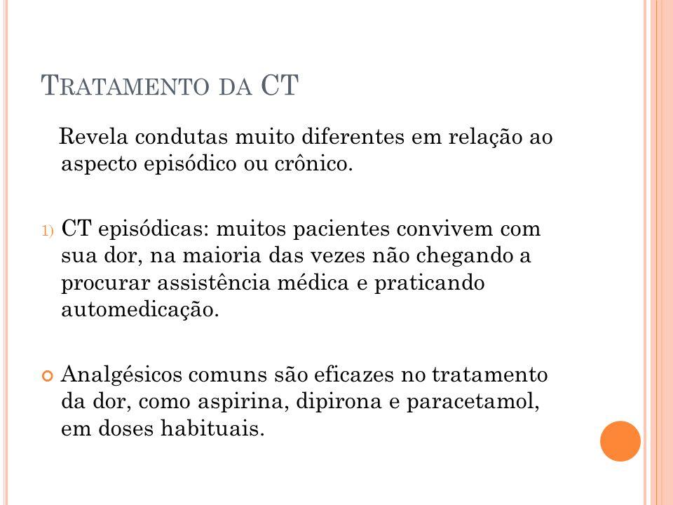 Tratamento da CT Revela condutas muito diferentes em relação ao aspecto episódico ou crônico.