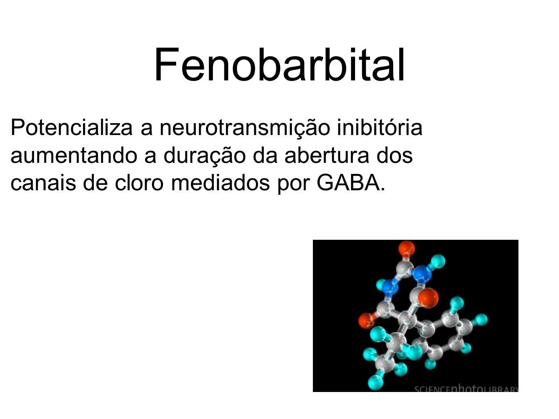 Fenobarbital Potencializa a neurotransmição inibitória aumentando a duração da abertura dos canais de cloro mediados por GABA.
