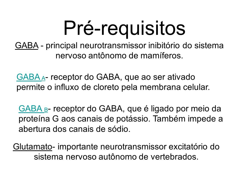 Pré-requisitos GABA - principal neurotransmissor inibitório do sistema nervoso antônomo de mamíferos.
