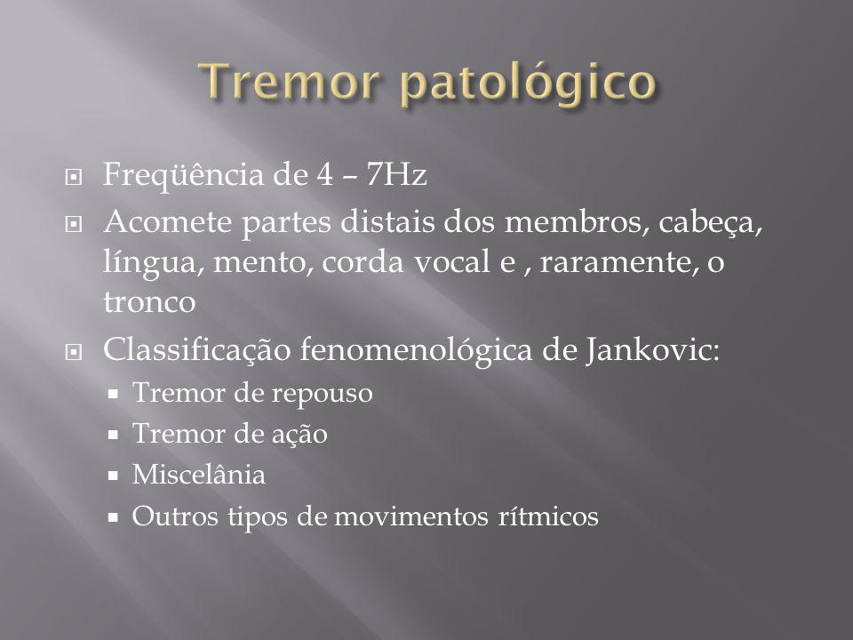 Tremor patológico Freqüência de 4 – 7Hz