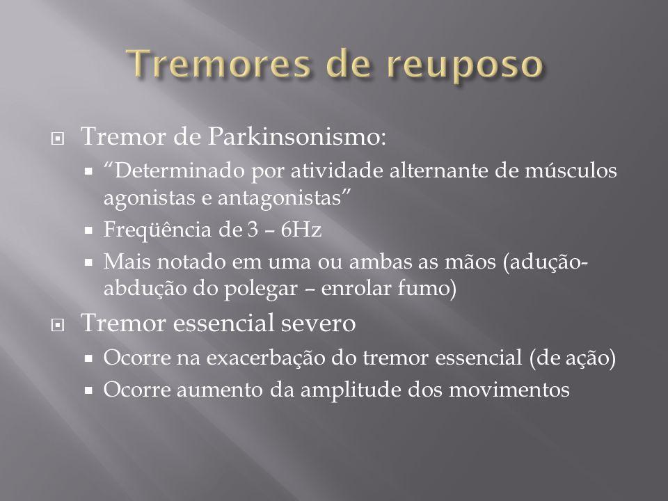 Tremores de reuposo Tremor de Parkinsonismo: Tremor essencial severo