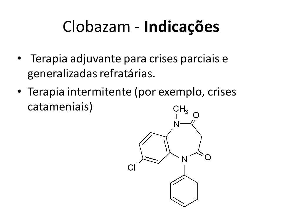 Clobazam - Indicações Terapia adjuvante para crises parciais e generalizadas refratárias.