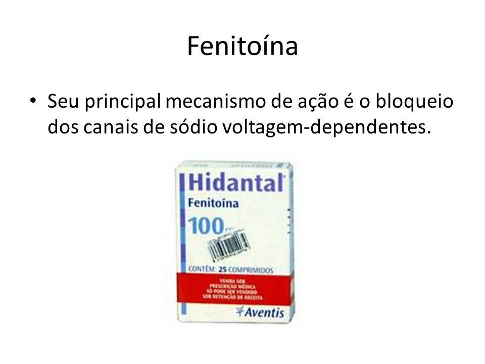Fenitoína Seu principal mecanismo de ação é o bloqueio dos canais de sódio voltagem-dependentes.