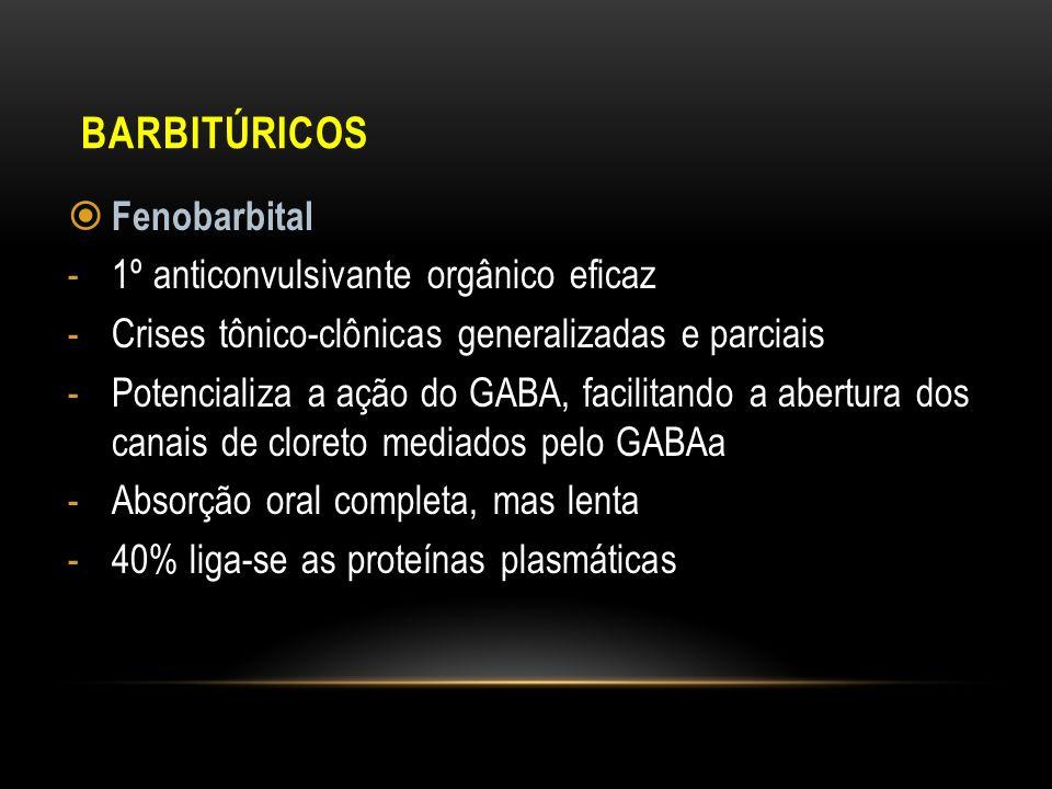 Barbitúricos Fenobarbital 1º anticonvulsivante orgânico eficaz