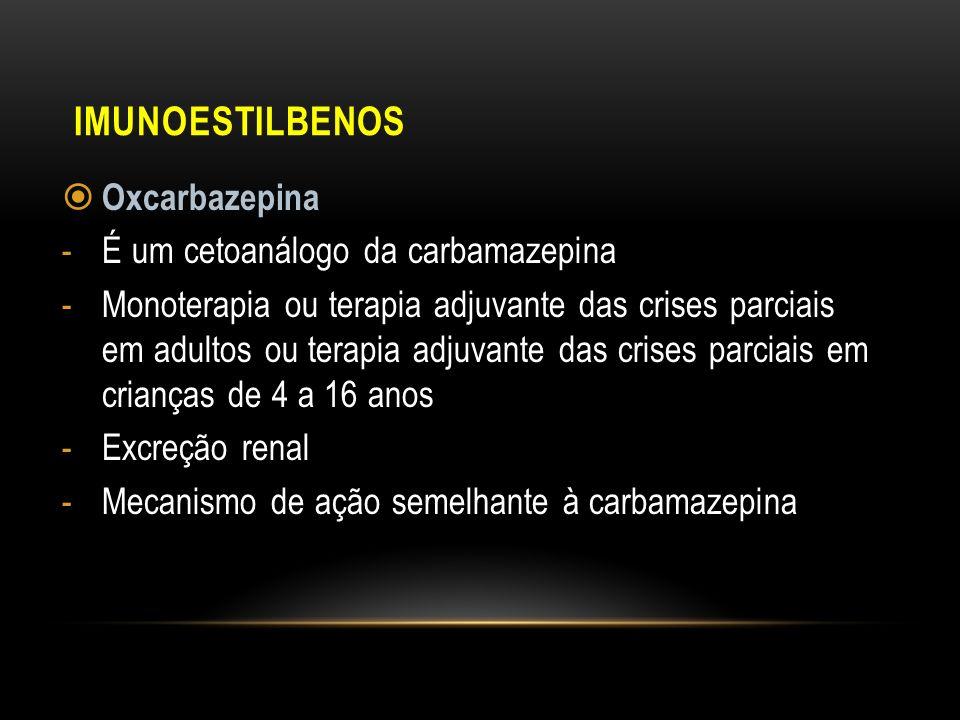 Imunoestilbenos Oxcarbazepina É um cetoanálogo da carbamazepina