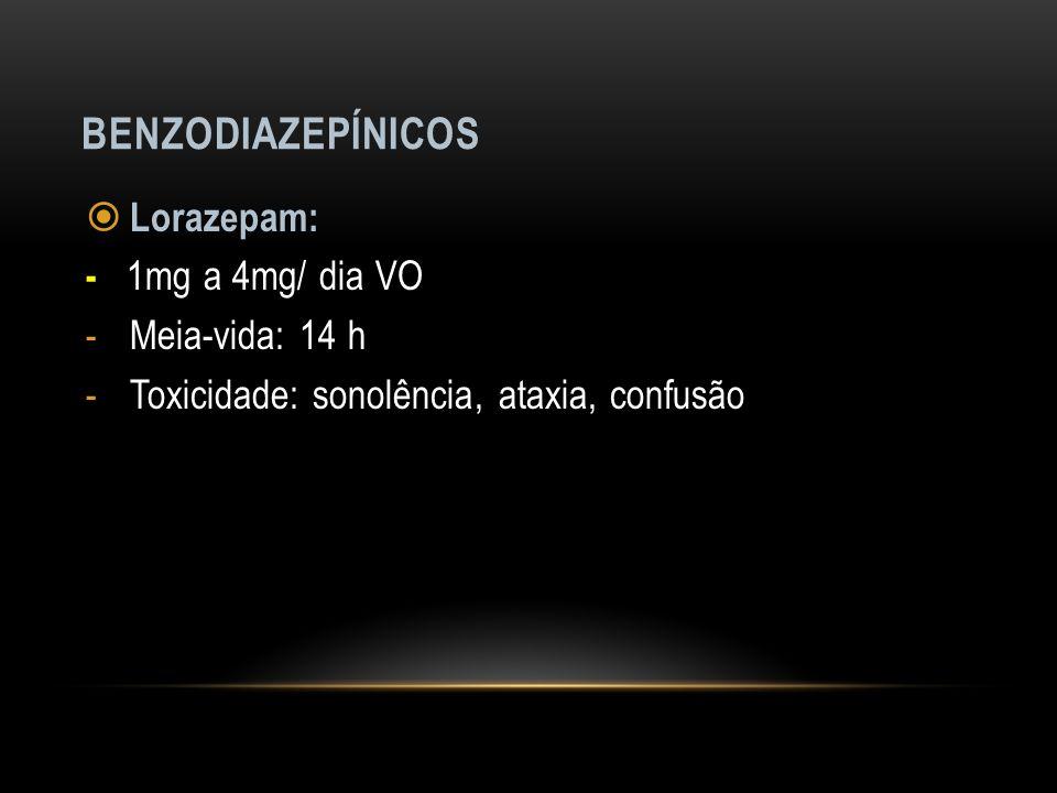 Benzodiazepínicos Lorazepam: - 1mg a 4mg/ dia VO Meia-vida: 14 h