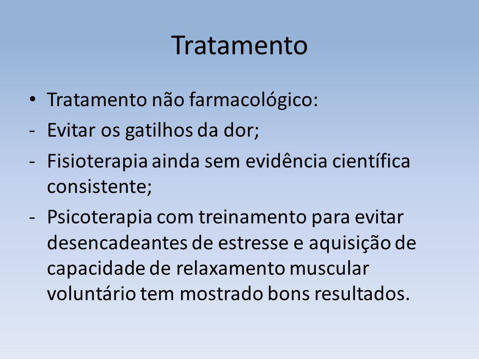 Tratamento Tratamento não farmacológico: Evitar os gatilhos da dor;