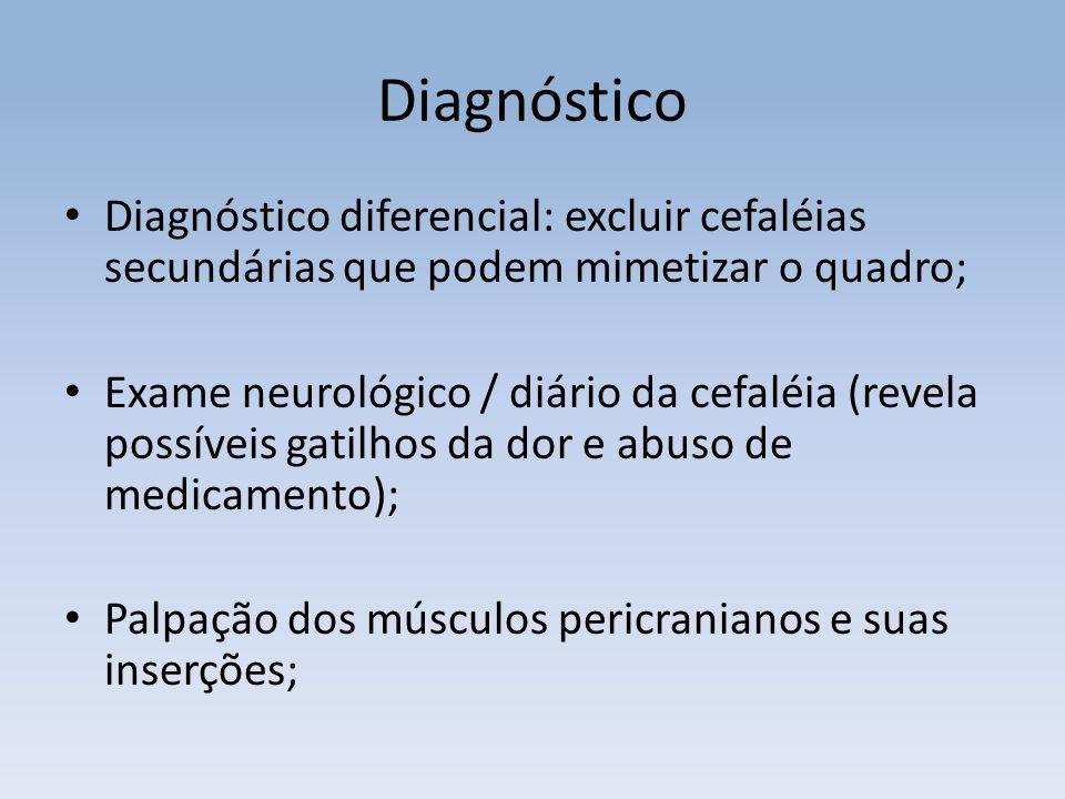 Diagnóstico Diagnóstico diferencial: excluir cefaléias secundárias que podem mimetizar o quadro;